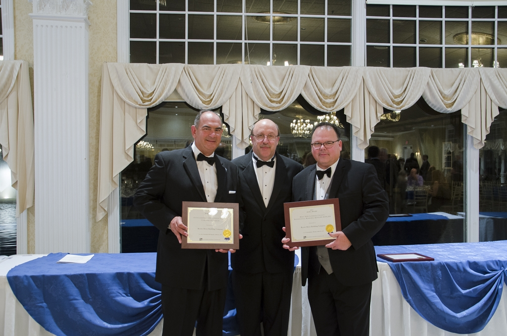 HBRA President Ken Boynton, 1st V.P. Nort Wheeler & Senior Officer Henry Rozewski with Mystic River HOBI Awards